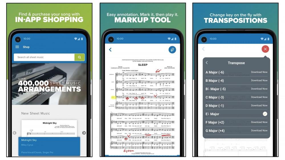 تطبيق Musicnotes لشراء وتعليق وعرض درجات الموسيقى