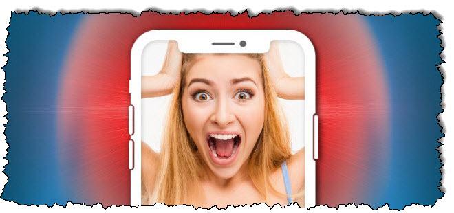 صورة امرأة تصرخ على iPhone.