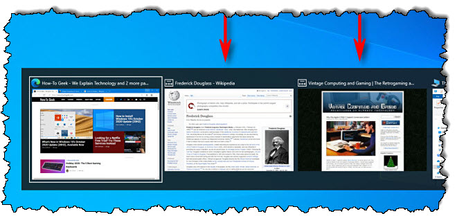 مثال على علامة تبويب متصفح Microsoft Edge المعروضة في مفتاح تبديل المهام Alt + Tab