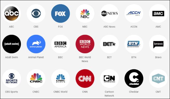 تتوفر شعارات شبكة التلفزيون على YouTube TV