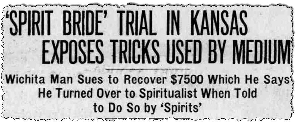 """""""العروس الروحية"""" عنوان صحيفة Allentown Morning News في 5 نوفمبر 1927."""