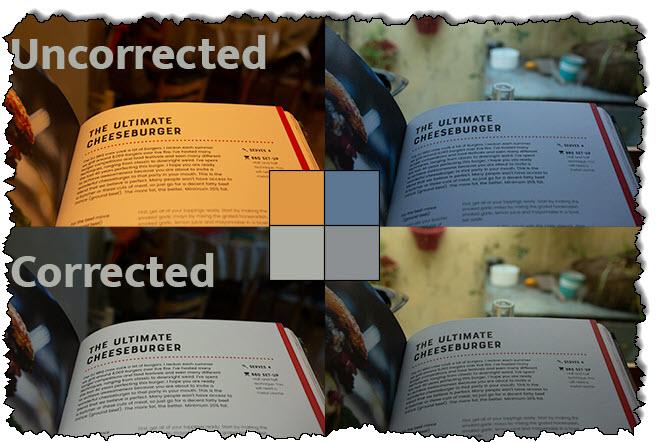 تظهر أربع صور في نفس الصفحة في كتاب مستويات مختلفة من توازن اللون الأبيض.