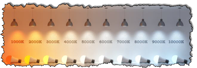 درجة حرارة الضوء التي يشير إليها خط اللمبة هي 1،000-10،000 كلفن.