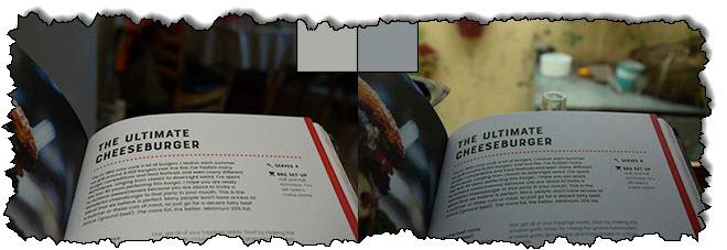 قبل وبعد تصحيح توازن اللون الأبيض ، صورتان لنفس الصفحة في الكتاب.