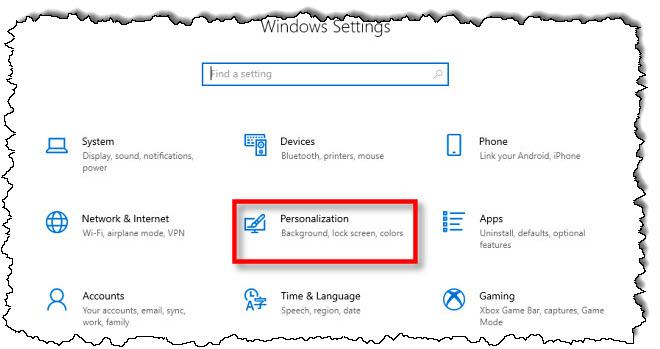 """في إعدادات Windows 10 ، انقر فوق """"أضفى طابع شخصي."""""""