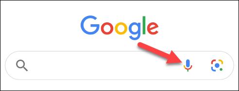 انقر فوق رمز الميكروفون في Google