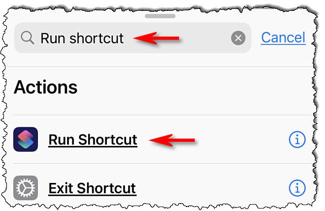 """انواع من """"تشغيل الاختصار"""" في مربع البحث وانقر """"قم بتشغيل الاختصار."""""""