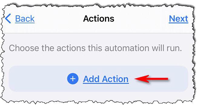 """في اختصارات Apple على iPhone ، انقر فوق """"أضف العمل."""""""