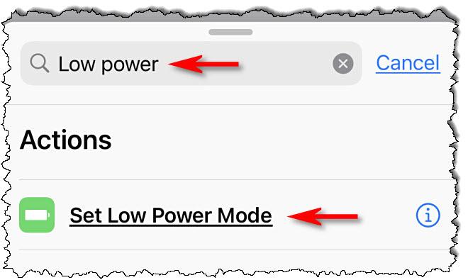 """في اختصارات Apple على iPhone ، ابحث عن """"طاقة منخفضة،"""" ثم اضغط """"اضبط وضع استهلاك الطاقة المنخفض."""""""