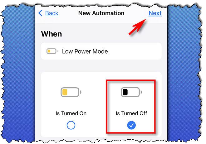 """في اختصارات Apple على iPhone ، حدد """"مغلق،"""" ثم اضغط """"التالى."""""""