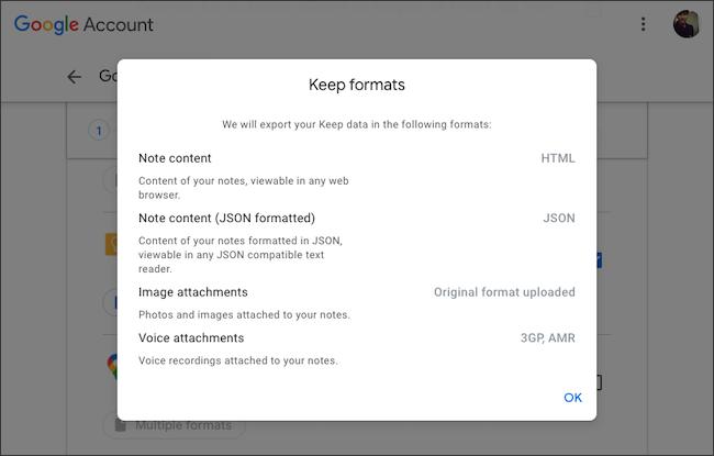 تحقق من تنسيق ملف تصدير بيانات Google Keep