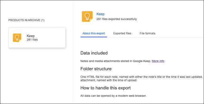 أرشيف بيانات Google Keep.
