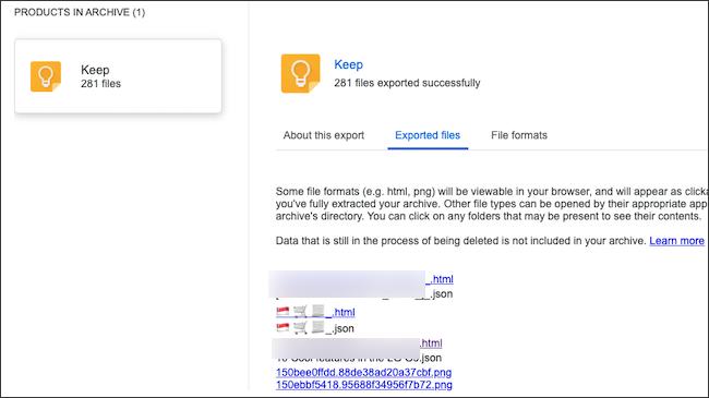 ملاحظات Google Keep موجودة في أرشيف البيانات التي تم تصديرها.