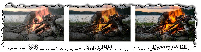 ثلاث صور للنيران: واحدة في SDR ، وواحدة في HDR ثابت ، وواحدة في HDR الديناميكي.