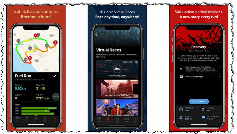 تطبيق Zombies Run ، يستخدم للتمرين والهروب من الزومبي في اللعبة
