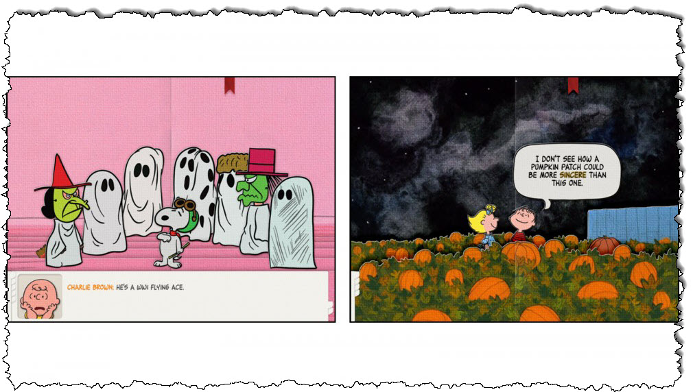 هذا قرع رائع للوحة الكوميدية لطفلك ، تطبيق تشارلي براون التفاعلي