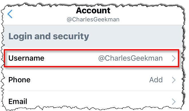 """في إعدادات Twitter ، انقر فوق """"اسم المستخدم."""""""