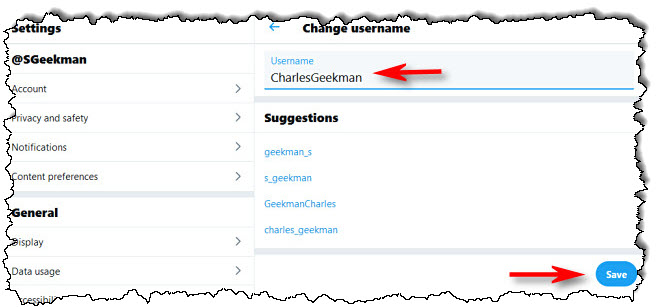 """في Twitter على الويب ، أدخل اسم مستخدم جديدًا وانقر فوق """"حفظ."""""""