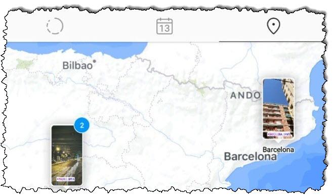 توجد قصتان على Instagram في مواقع مختلفة من إسبانيا في عرض الخريطة.