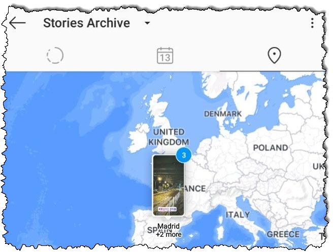 قصص Instagram في المملكة المتحدة في عرض خريطة العالم.