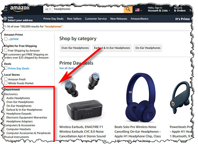 في الشريط الجانبي Amazon.com ، حدد قسمًا