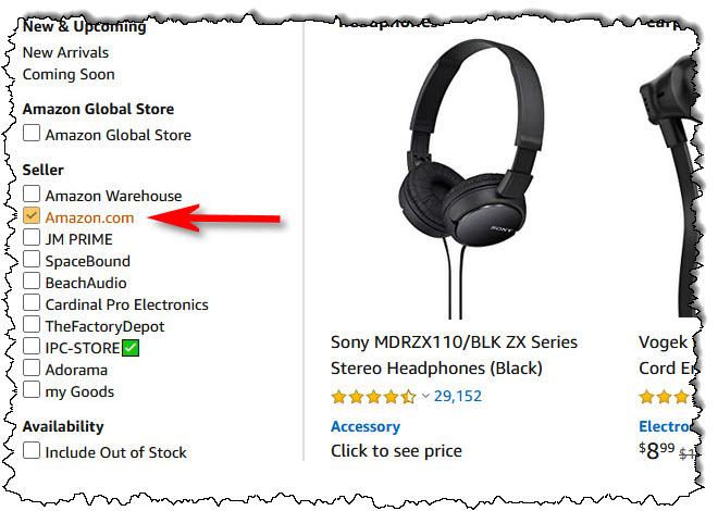 """ضع علامة اختيار بجانب """"Amazon.com"""" في قسم البائع في الشريط الجانبي"""