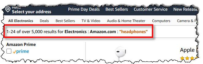 """معايير البحث سوف تشمل """"Amazon.com"""""""