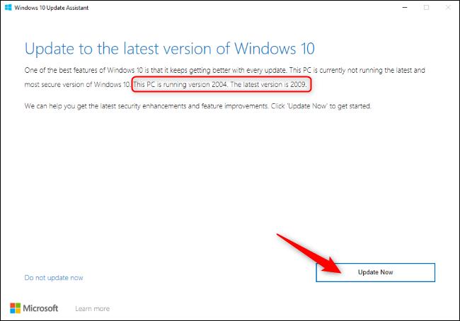 """من فضلك اضغط """"تحديث الان"""" في Windows 10 Update Assistant."""