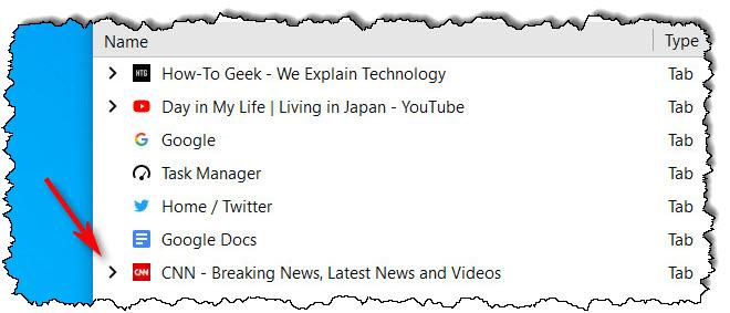 انقر فوق السهم الموجود بجانب علامة التبويب في Firefox Task Manager