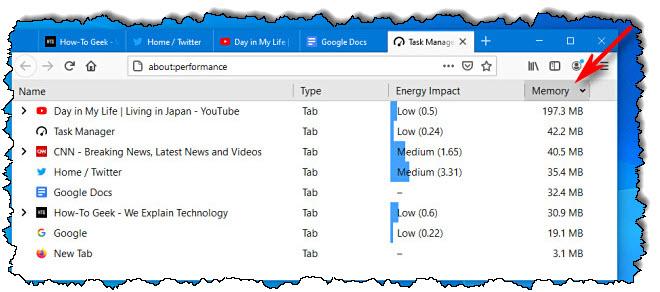 في Firefox Task Manager ، انقر فوق عناوين الأعمدة لفرز القائمة