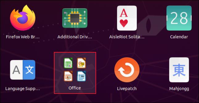 شبكة تطبيق بها أربعة رموز Libre Office.