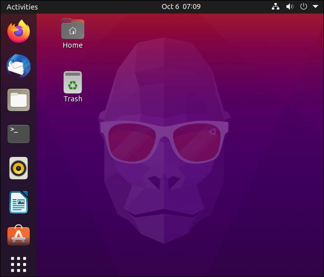 """من """"جروفي غوريلا"""" على سطح المكتب الافتراضي Ubuntu 20.10."""