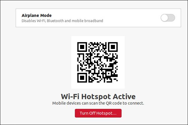 مربع حوار Wi-Fi hotspot في Ubuntu 20.10.