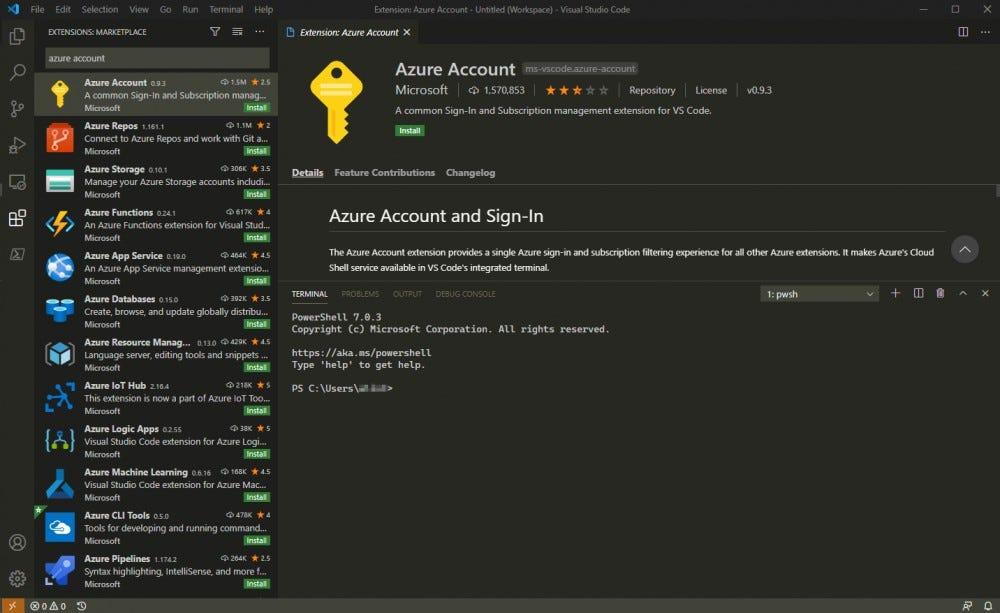 أولاً ، الرجاء تثبيت ملحق حساب Azure الرسمي من Microsoft.