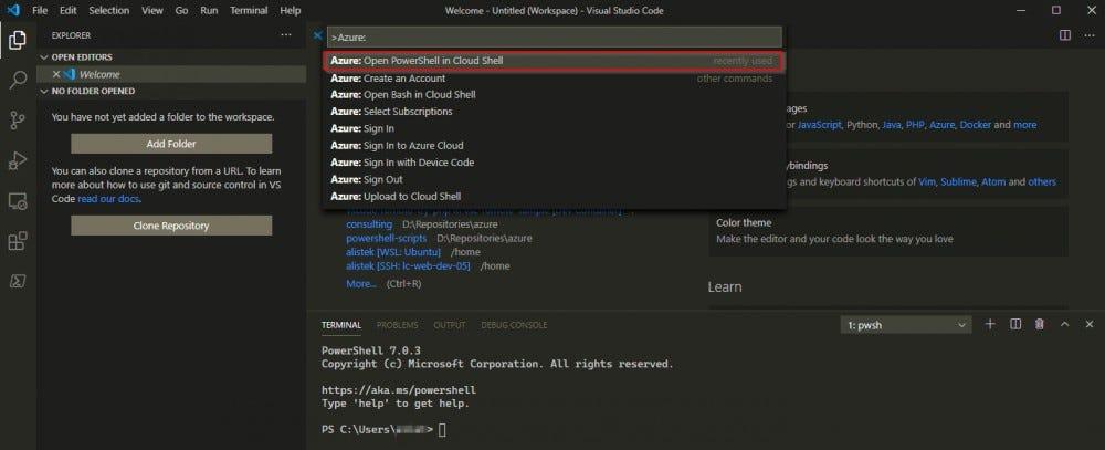 """انقر أو حدد """"Azure: افتح PowerShell في Cloud Shell"""" خيار لتشغيل الأمر"""