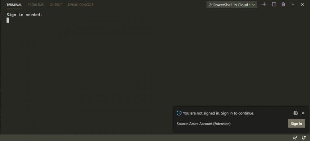 """انقر فوق """"تسجيل الدخول"""" استخدم المستعرض الافتراضي لزيارة صفحة الويب لتسجيل الدخول إلى حساب Azure الخاص بك."""