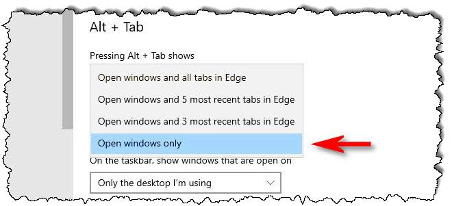 """تحديد """"فتح النوافذ فقط"""" في القائمة المنسدلة."""