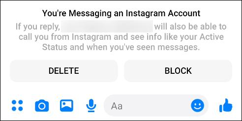"""من """"أنت ترسل رسالة إلى حساب Instagram الخاص بك"""" انبثق في Facebook Messenger."""