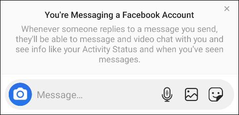"""من """"أنت ترسل رسالة إلى حساب Facebook الخاص بك"""" يظهر فجأة."""