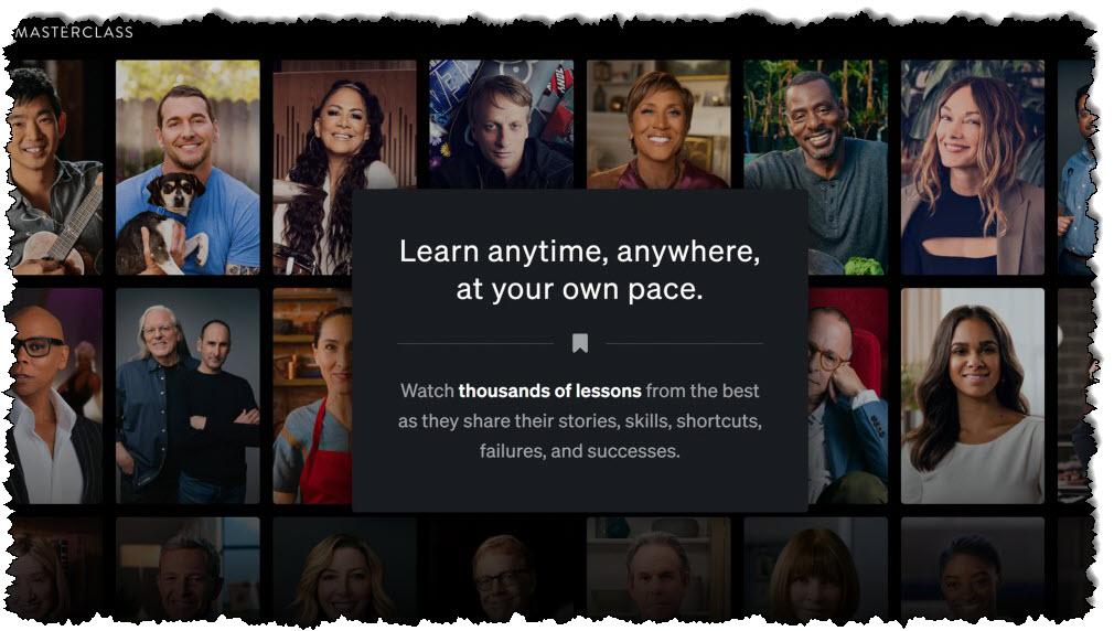 صفحة تسجيل الدخول إلى موقع MasterClass تحتوي على صور لخبراء المشاهير