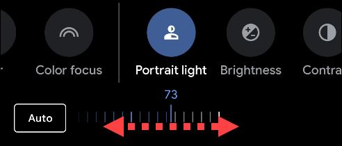 اسحب شريط التمرير لضبط سطوع الإضاءة في الصورة.