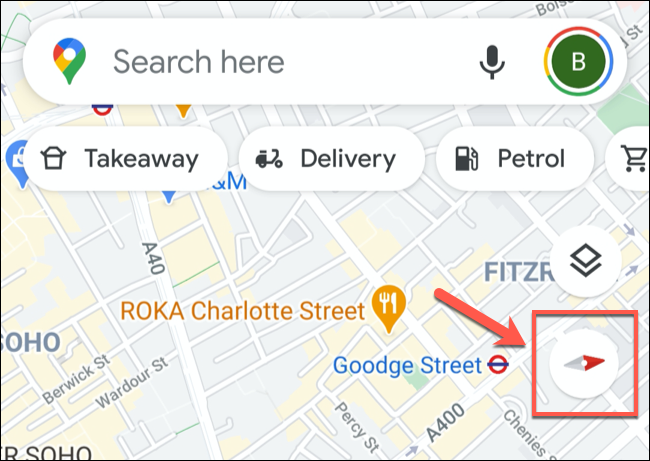 تُظهر أيقونة البوصلة الاتجاه بين الشمال والجنوب في تطبيق خرائط Google للجوال