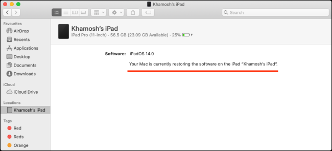 استعادة شريط التقدم لجهاز iPad على Mac.