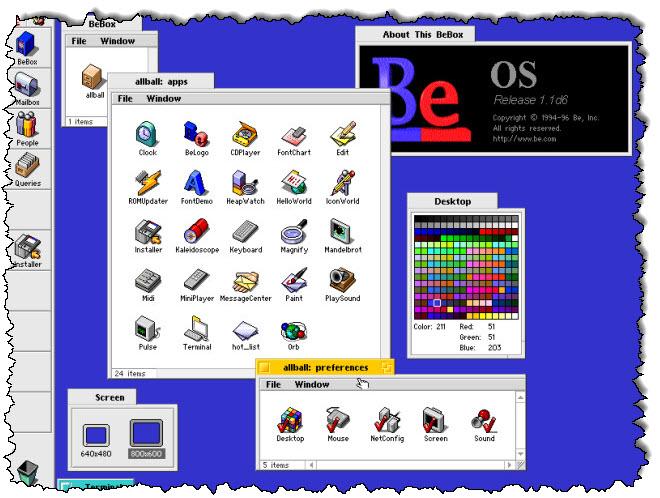 افتح العديد من نوافذ الملفات على BeOS على كمبيوتر BeBox.