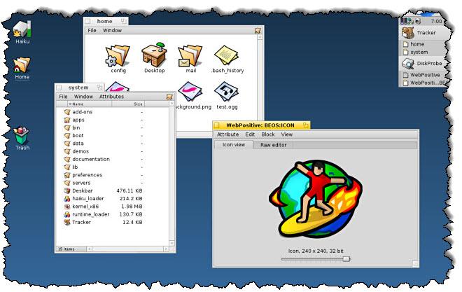 افتح عدة نوافذ على نظام التشغيل Haiku.