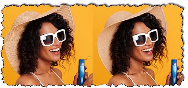 صورتان متطابقتان لامرأة ترتدي نظارة شمسية وقبعة تحمل كريمًا ؛ الصورة على اليمين ضبابية ومقطَّعة.