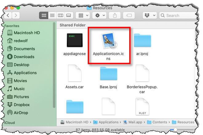 في مجلد Recources من حزمة تطبيق Mac ، انقر فوق ملف ApplicationIcon.icns.