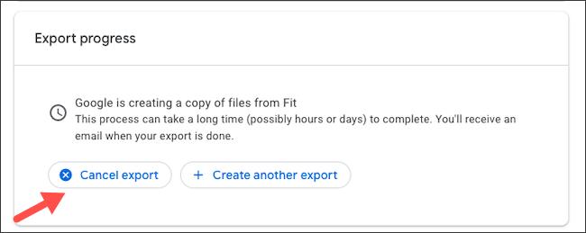 إلغاء تصدير بيانات Google Fit
