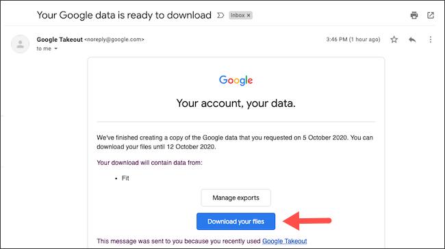 قم بتنزيل أرشيف بيانات Google Fit