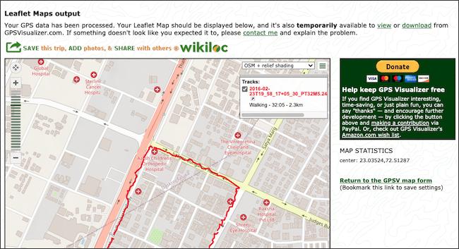 استخدم GPS Visualizer لفتح بيانات Google Fit